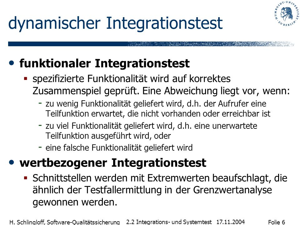 dynamischer Integrationstest