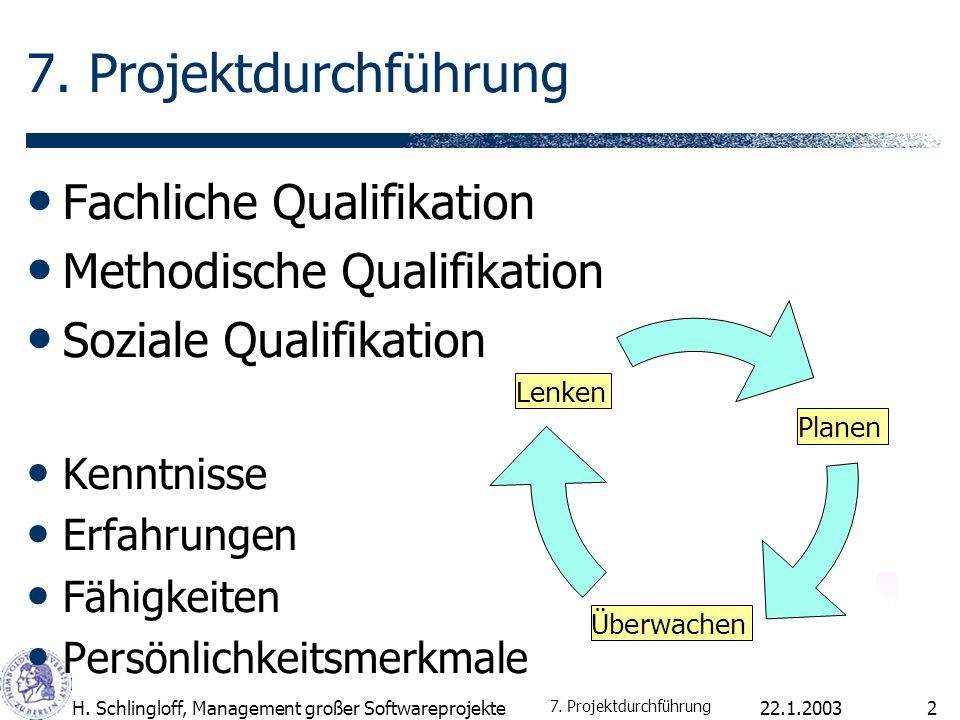 7. Projektdurchführung Fachliche Qualifikation
