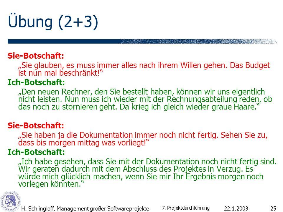 Übung (2+3) Sie-Botschaft: