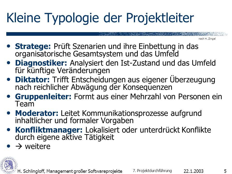 Kleine Typologie der Projektleiter