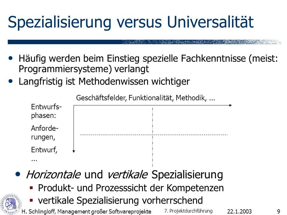 Spezialisierung versus Universalität