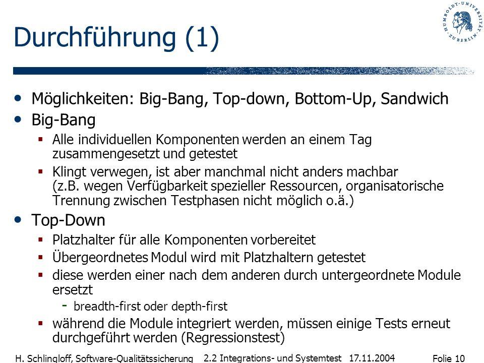 Durchführung (1) Möglichkeiten: Big-Bang, Top-down, Bottom-Up, Sandwich. Big-Bang.