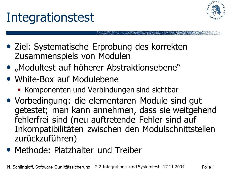 """Integrationstest Ziel: Systematische Erprobung des korrekten Zusammenspiels von Modulen. """"Modultest auf höherer Abstraktionsebene"""