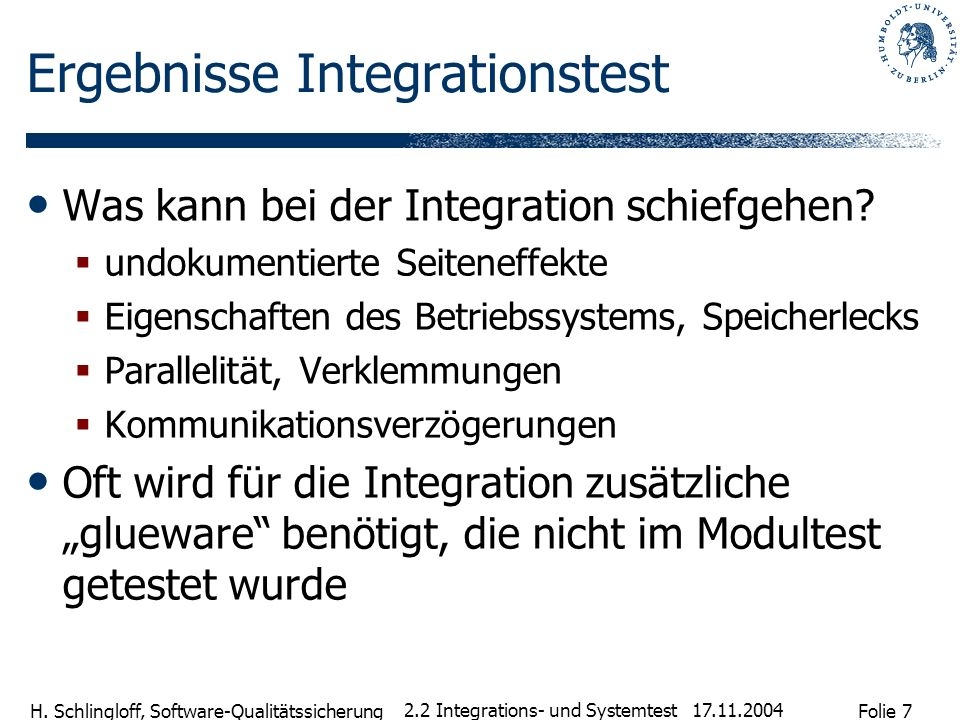 Ergebnisse Integrationstest