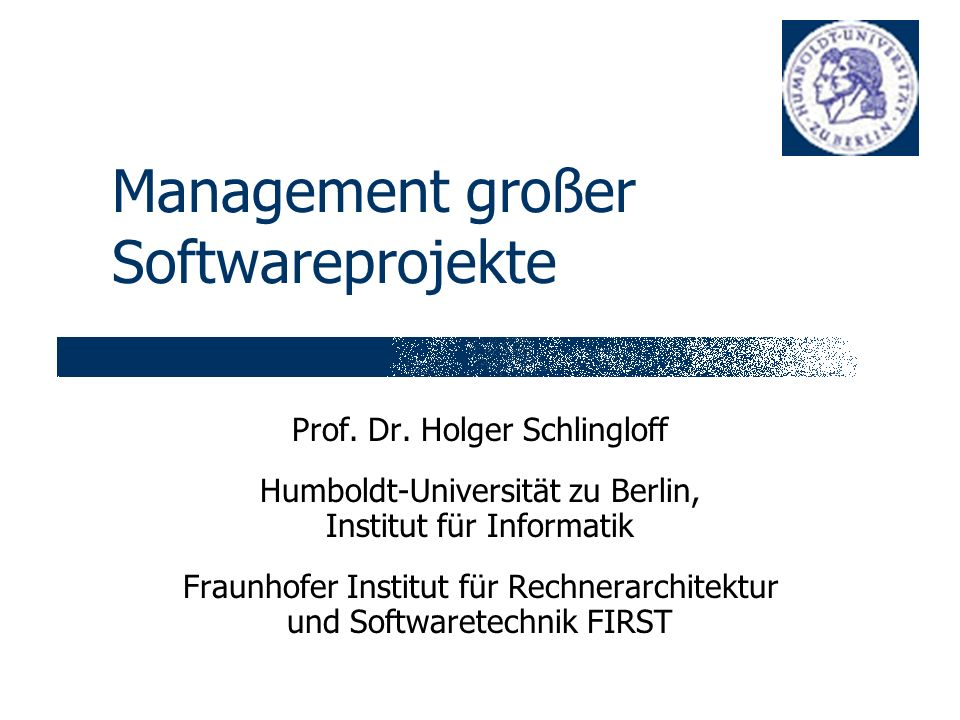 Management großer Softwareprojekte