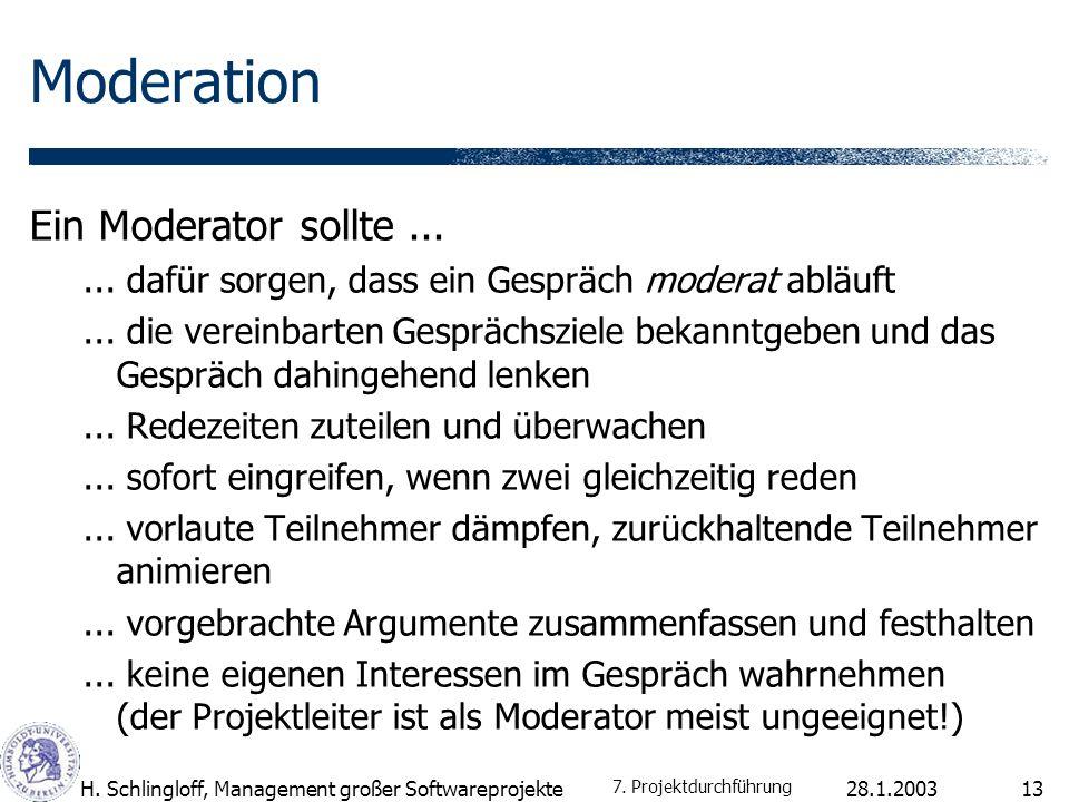 Moderation Ein Moderator sollte ...