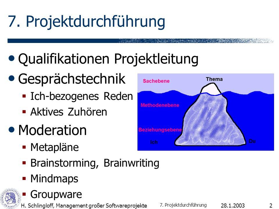 7. Projektdurchführung Qualifikationen Projektleitung Gesprächstechnik