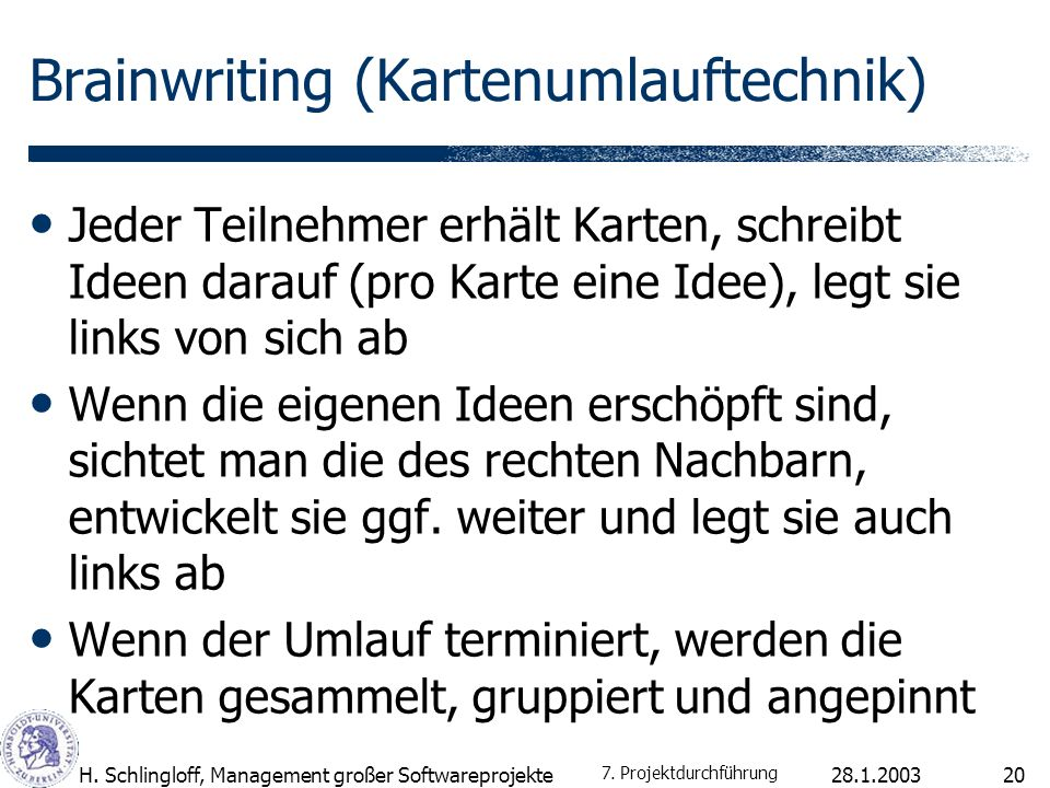 Brainwriting (Kartenumlauftechnik)
