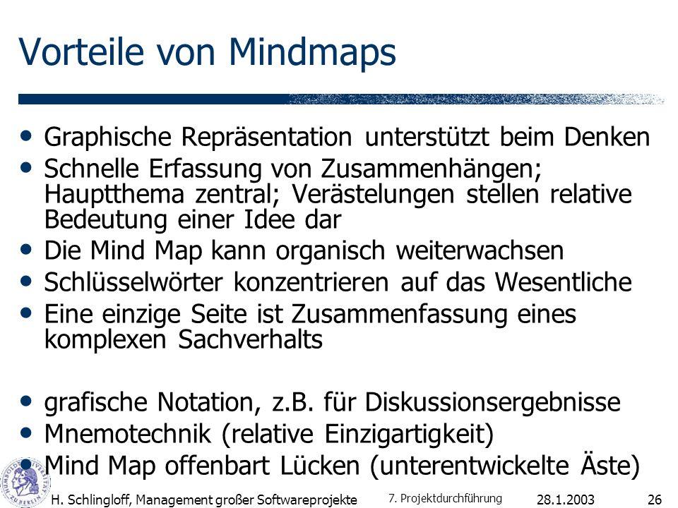 Vorteile von Mindmaps Graphische Repräsentation unterstützt beim Denken.