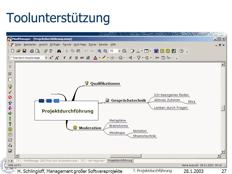 Toolunterstützung H. Schlingloff, Management großer Softwareprojekte