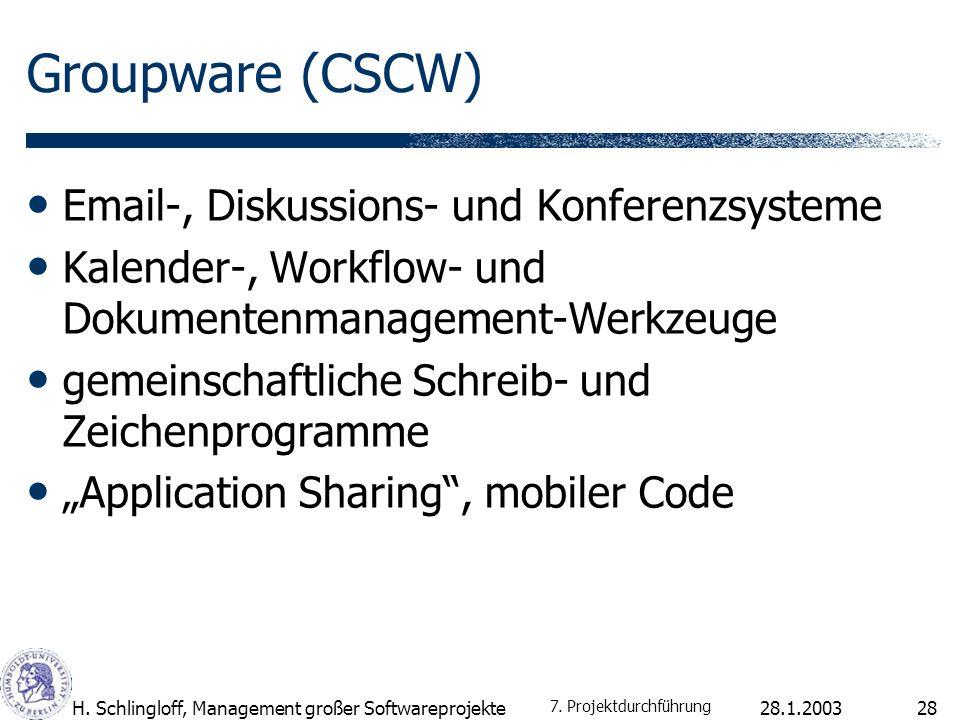 Groupware (CSCW) Email-, Diskussions- und Konferenzsysteme