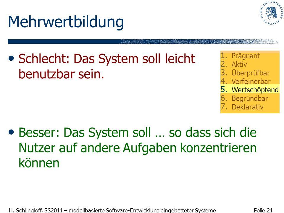 Mehrwertbildung Schlecht: Das System soll leicht benutzbar sein.