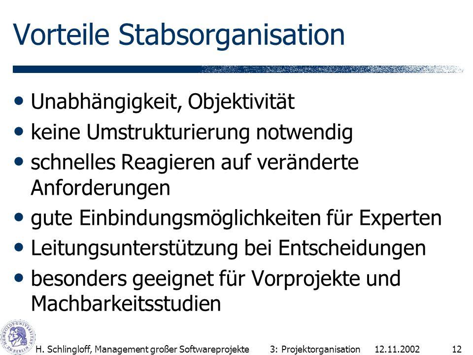 Vorteile Stabsorganisation