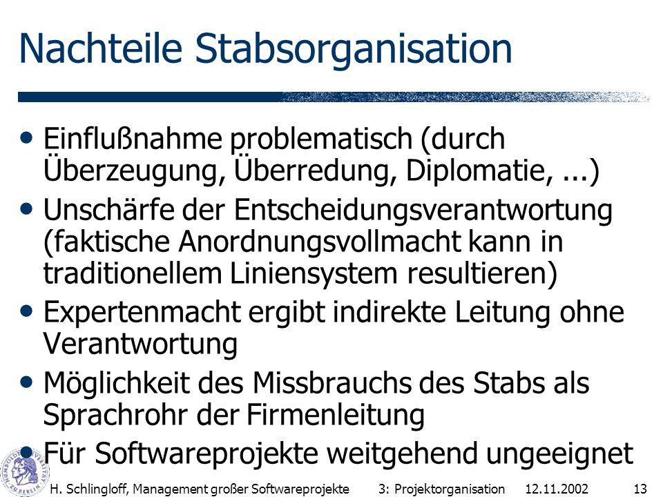 Nachteile Stabsorganisation