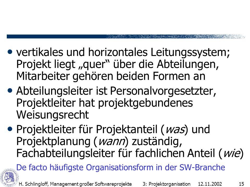 """vertikales und horizontales Leitungssystem; Projekt liegt """"quer über die Abteilungen, Mitarbeiter gehören beiden Formen an"""