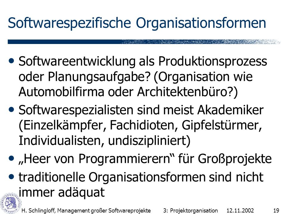 Softwarespezifische Organisationsformen