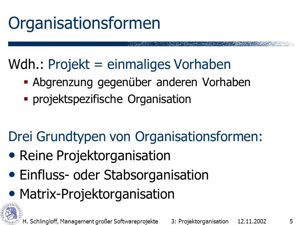 Organisationsformen Wdh.: Projekt = einmaliges Vorhaben