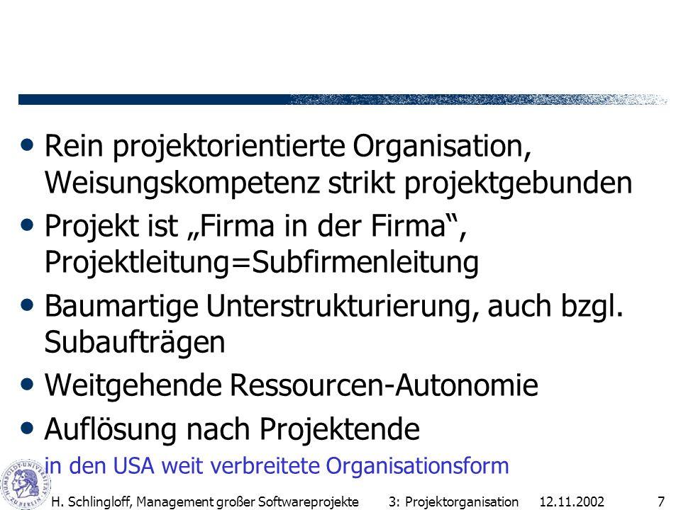 "Projekt ist ""Firma in der Firma , Projektleitung=Subfirmenleitung"