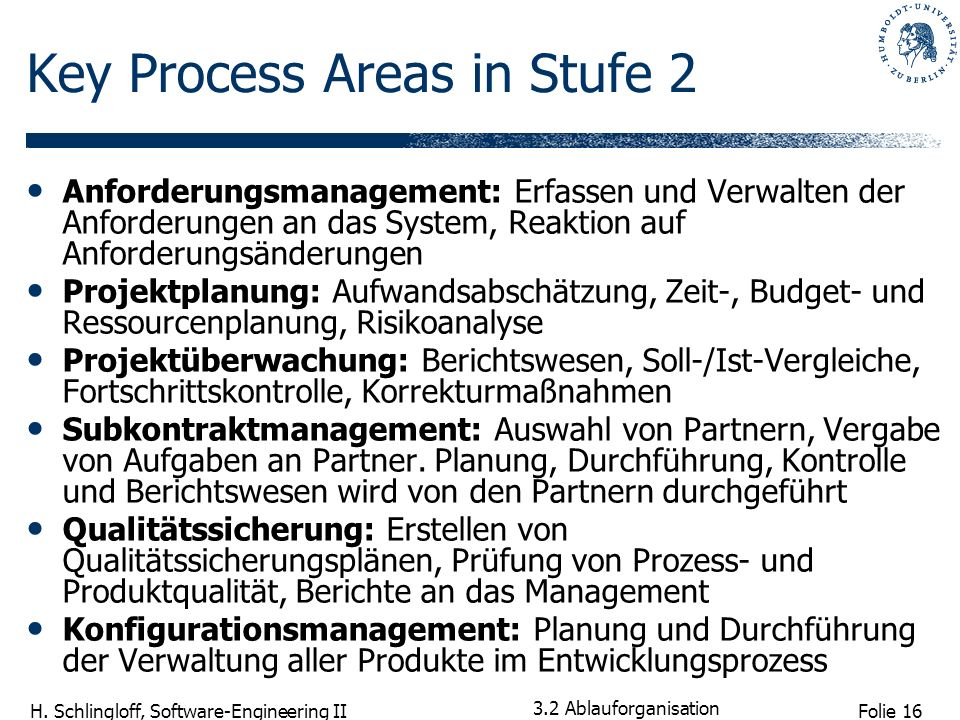 Key Process Areas in Stufe 2