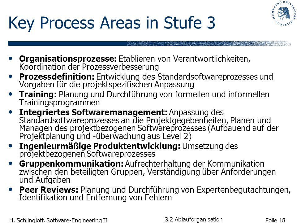 Key Process Areas in Stufe 3
