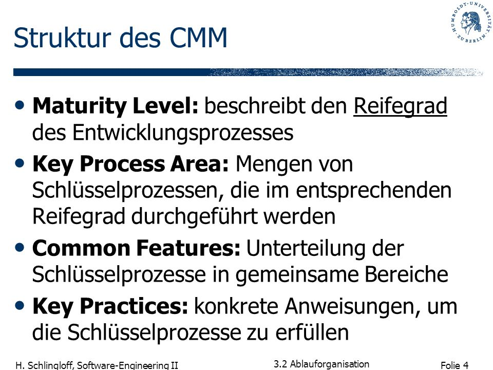 Struktur des CMM Maturity Level: beschreibt den Reifegrad des Entwicklungsprozesses.