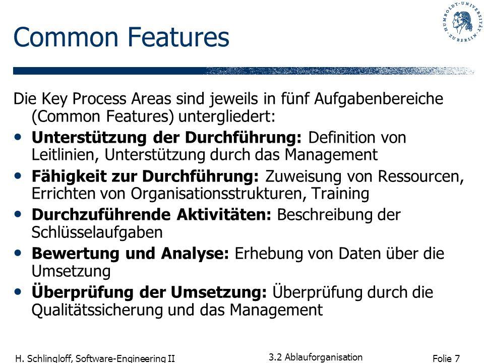 Common FeaturesDie Key Process Areas sind jeweils in fünf Aufgabenbereiche (Common Features) untergliedert: