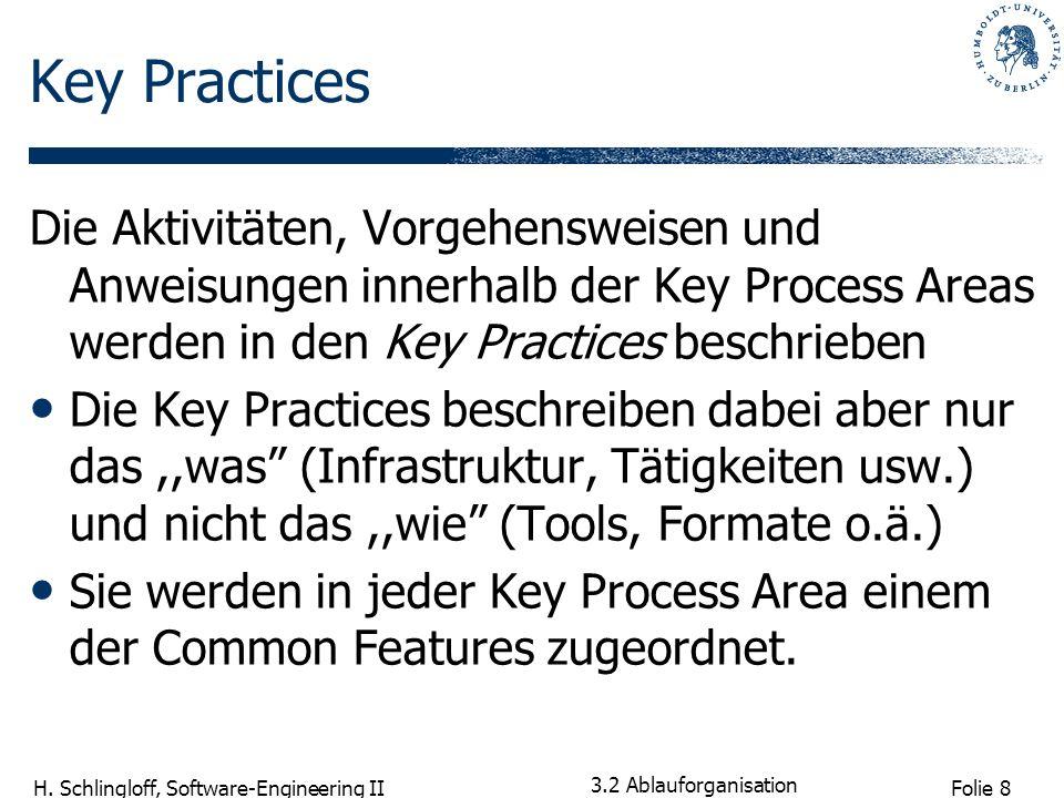 Key PracticesDie Aktivitäten, Vorgehensweisen und Anweisungen innerhalb der Key Process Areas werden in den Key Practices beschrieben.