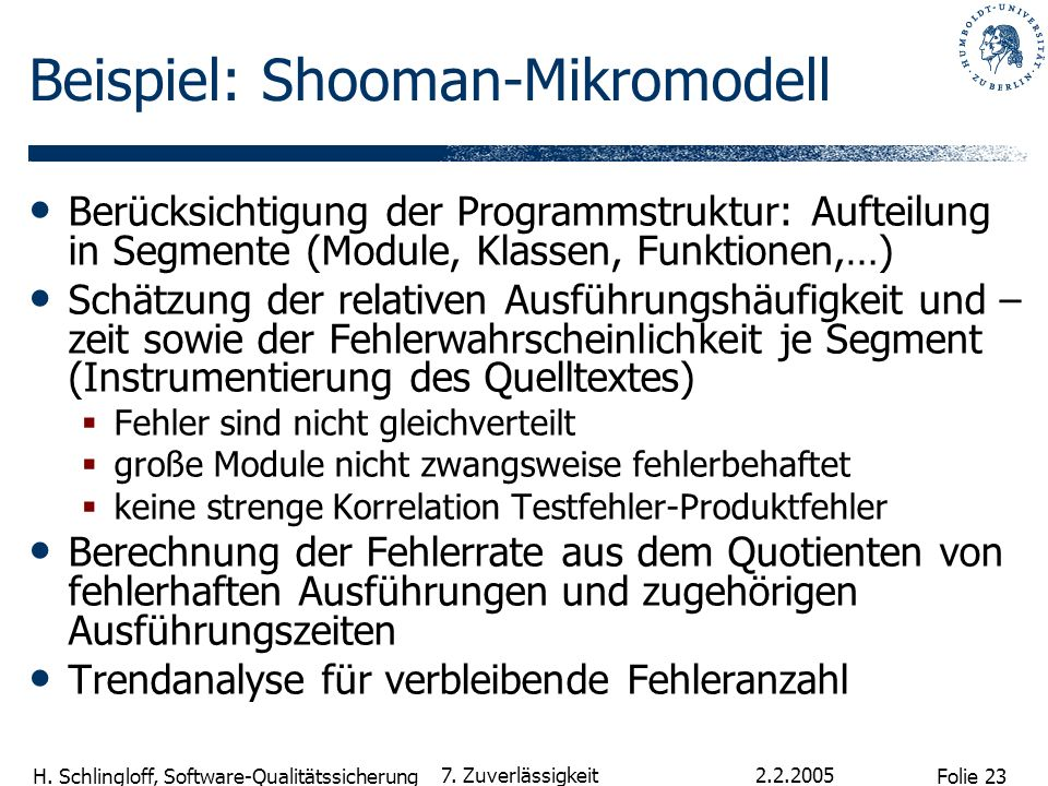 Beispiel: Shooman-Mikromodell