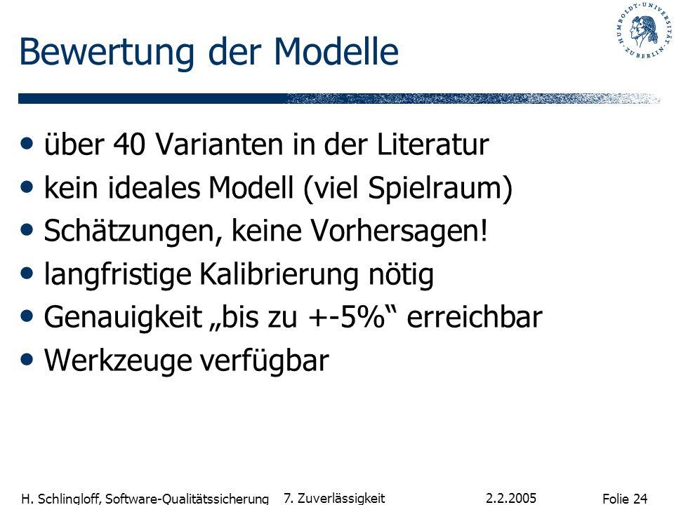 Bewertung der Modelle über 40 Varianten in der Literatur