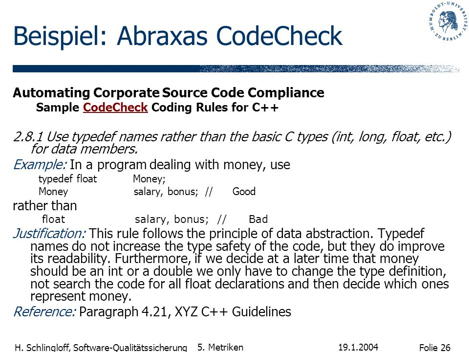 Beispiel: Abraxas CodeCheck