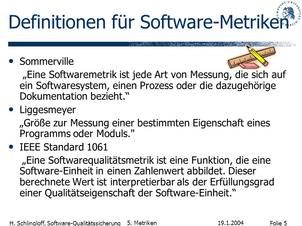 Definitionen für Software-Metriken