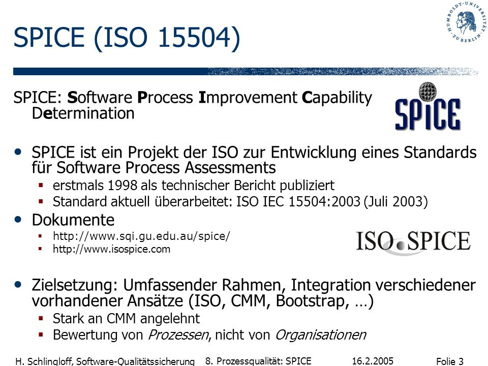 SPICE (ISO 15504) SPICE: Software Process Improvement Capability Determination.