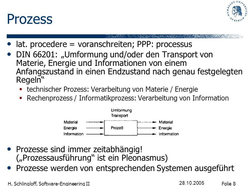 Prozess lat. procedere = voranschreiten; PPP: processus