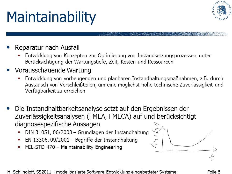 Maintainability Reparatur nach Ausfall Vorausschauende Wartung