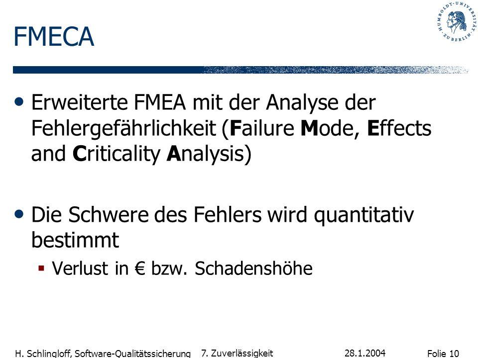 FMECA Erweiterte FMEA mit der Analyse der Fehlergefährlichkeit (Failure Mode, Effects and Criticality Analysis)