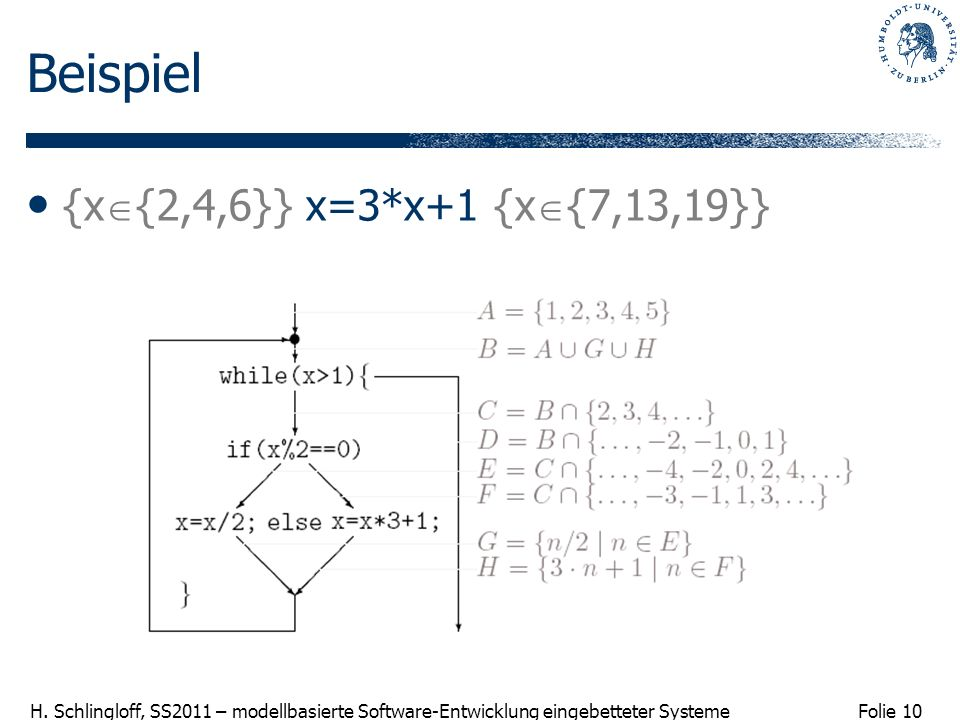 Beispiel {x{2,4,6}} x=3*x+1 {x{7,13,19}}