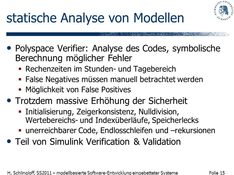 statische Analyse von Modellen