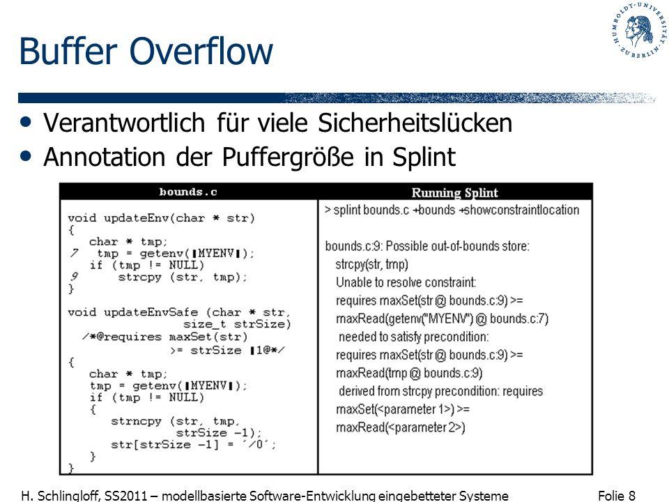 Buffer Overflow Verantwortlich für viele Sicherheitslücken
