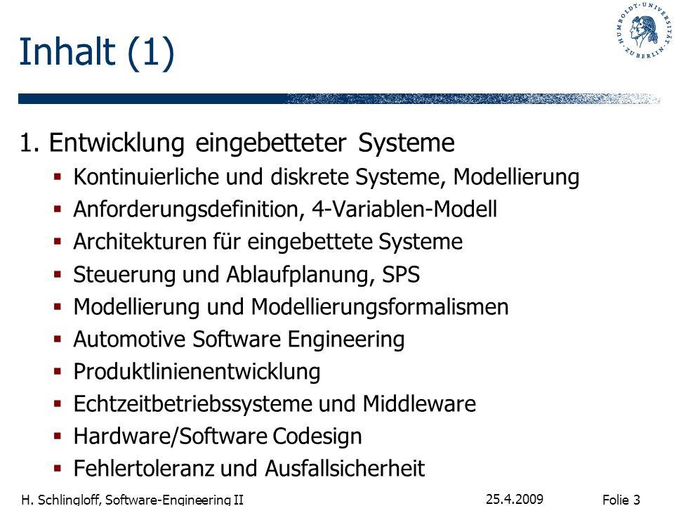 Inhalt (1) 1. Entwicklung eingebetteter Systeme