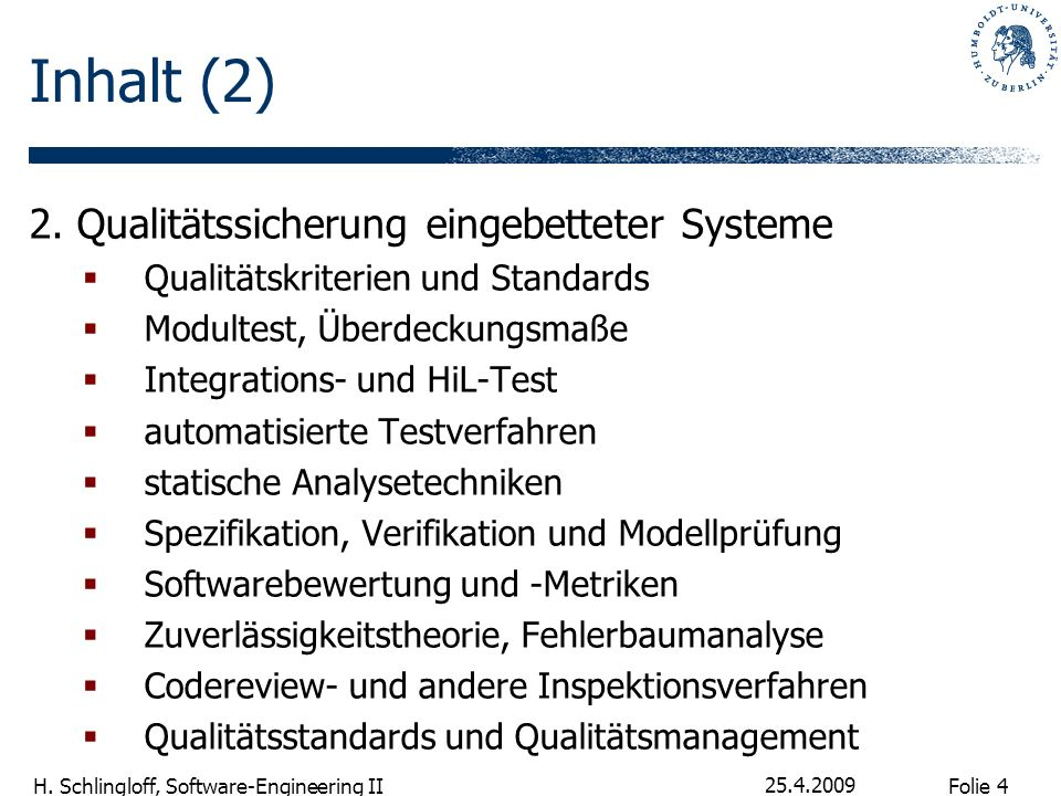 Inhalt (2) 2. Qualitätssicherung eingebetteter Systeme
