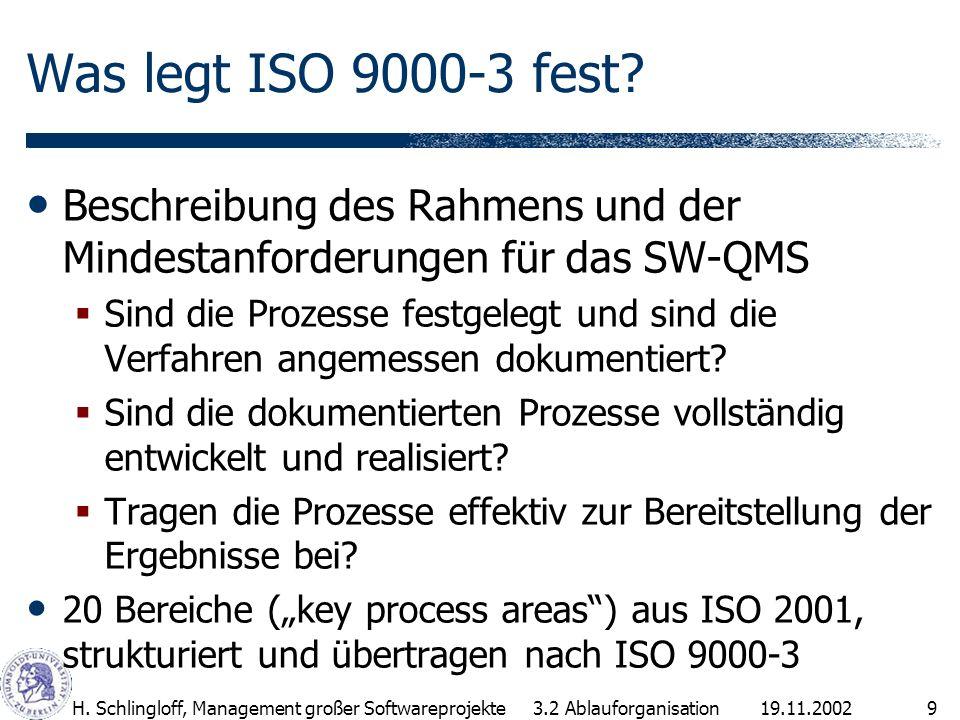Was legt ISO 9000-3 fest Beschreibung des Rahmens und der Mindestanforderungen für das SW-QMS.