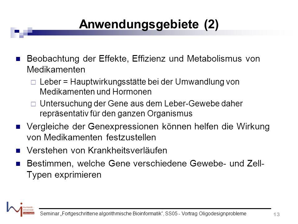 Anwendungsgebiete (2) Beobachtung der Effekte, Effizienz und Metabolismus von Medikamenten.