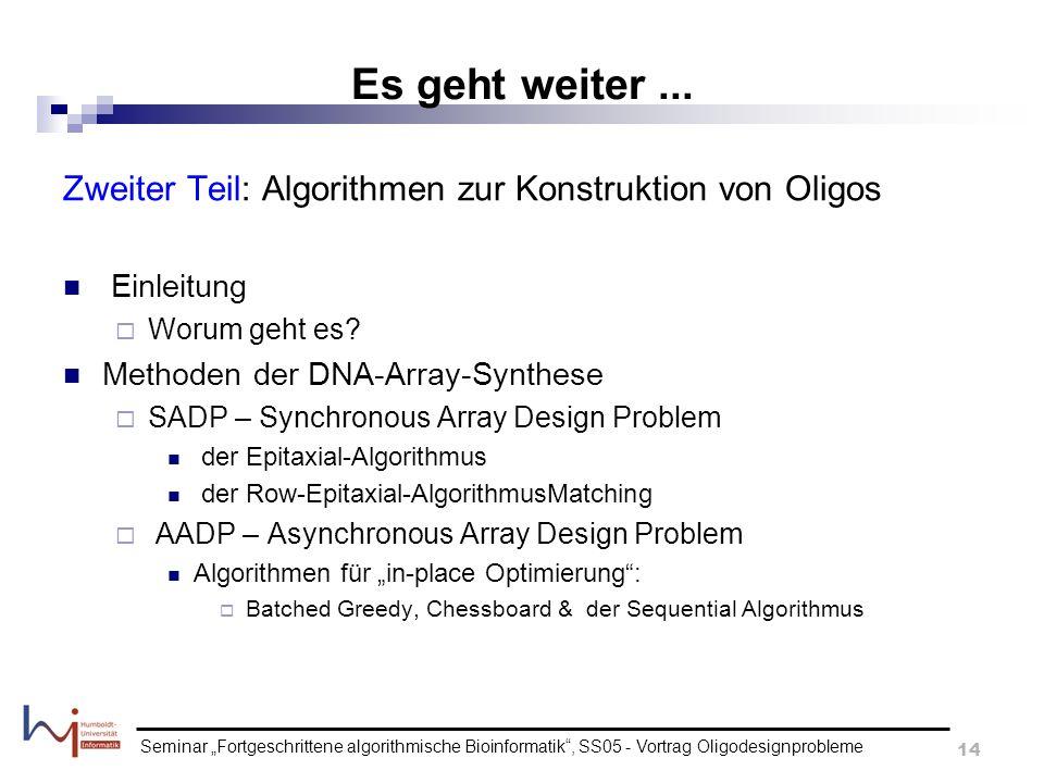 Es geht weiter ... Zweiter Teil: Algorithmen zur Konstruktion von Oligos. Einleitung. Worum geht es