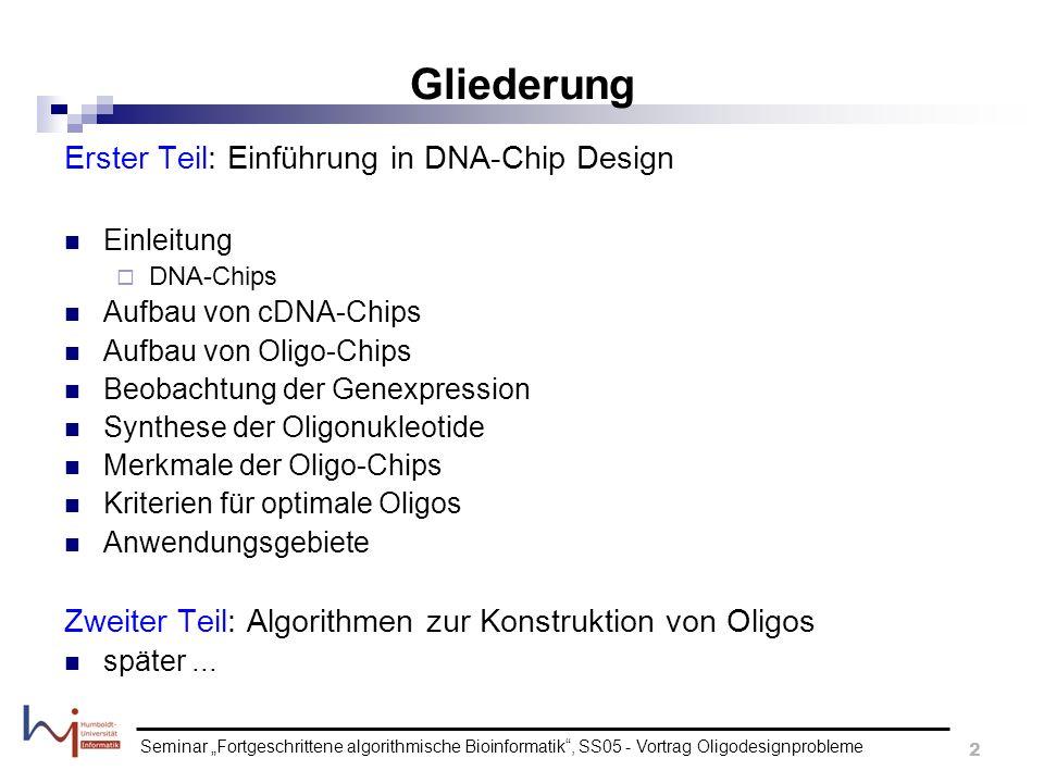 Gliederung Erster Teil: Einführung in DNA-Chip Design