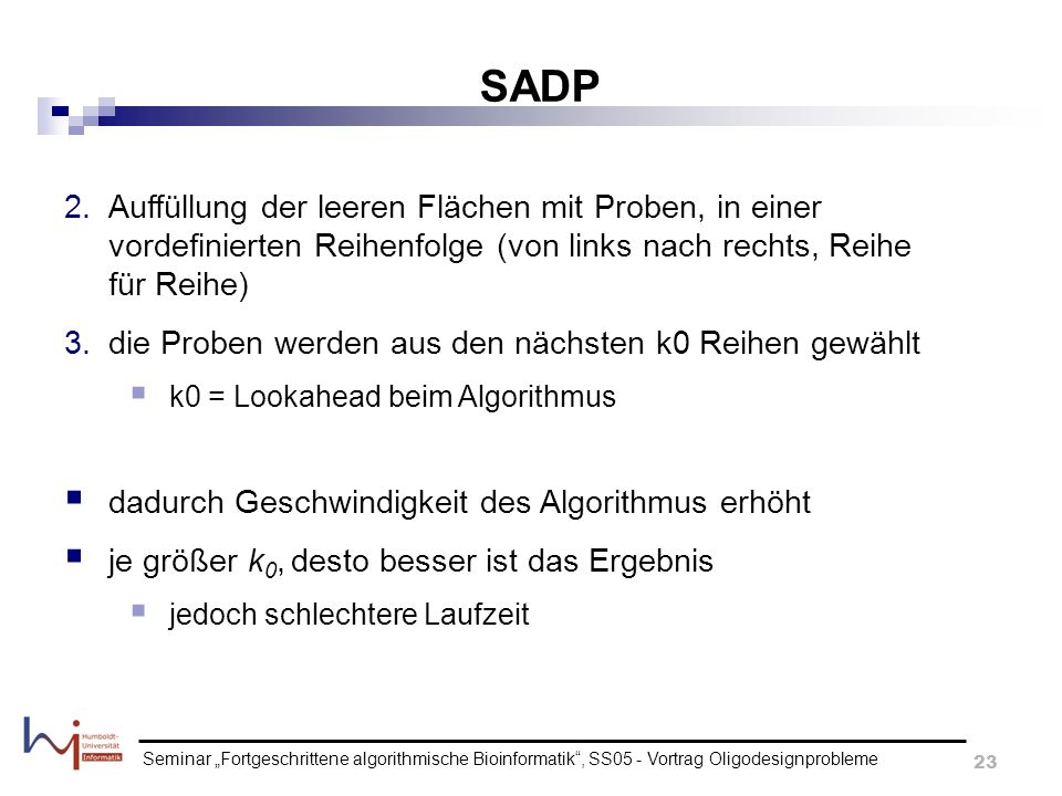 SADP Auffüllung der leeren Flächen mit Proben, in einer vordefinierten Reihenfolge (von links nach rechts, Reihe für Reihe)