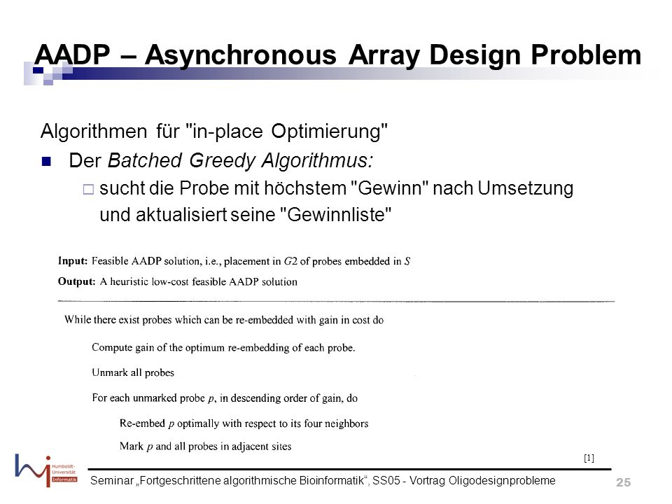 AADP – Asynchronous Array Design Problem