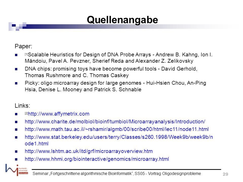 Quellenangabe Paper: Links: