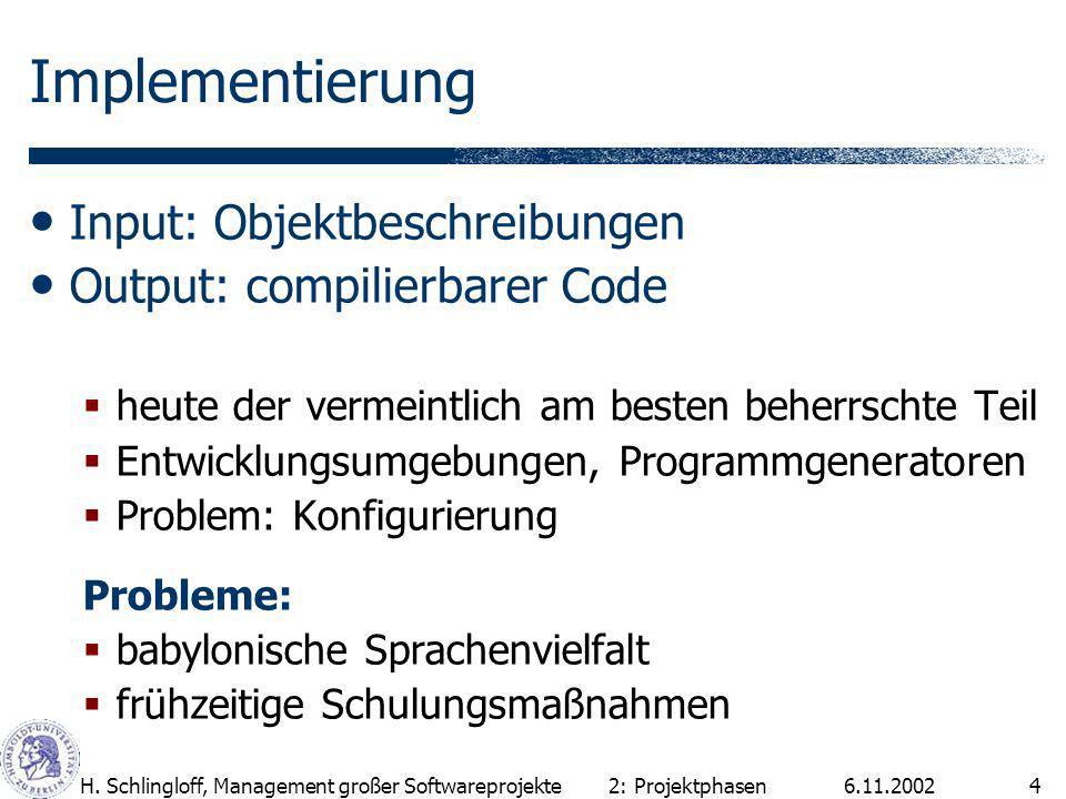 Implementierung Input: Objektbeschreibungen