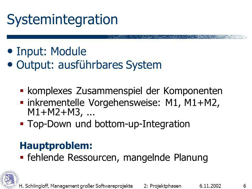 Systemintegration Input: Module Output: ausführbares System