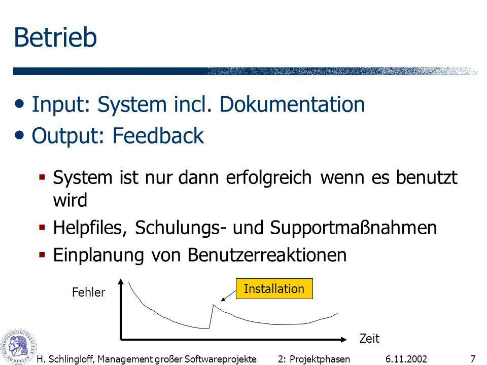 Betrieb Input: System incl. Dokumentation Output: Feedback